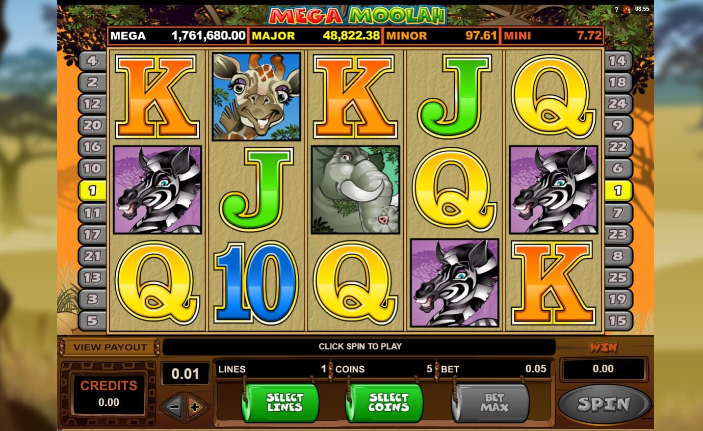 mega moolah slot screen shot